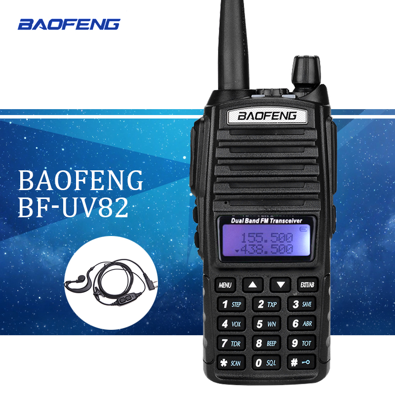 Baofeng UV82 walkie talkie uv 82 Tragbare Radio Mit Kopfhörer CB Ham Radio Vhf Uhf Dual band Walkie-talkie zwei-weg Transceiver
