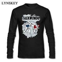 High Quality Taekwondo Head Kick Cartoon Print Mens T Shirt Man Tee Shirt Long Sleeve Black