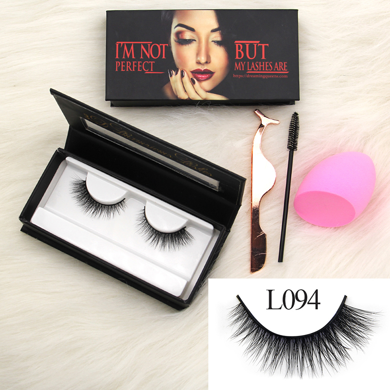 L094 3D luxury Mink Eyelash Natural Long Strip Lashes Last ...