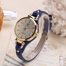 Women's Stylish Wristwatch with Thin Leather Band