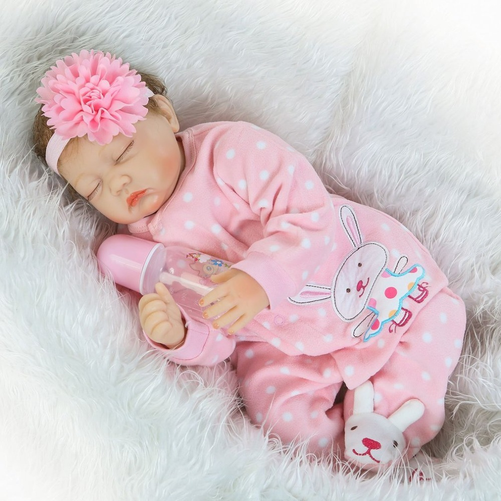 NPK 22 Inch Baby Reborn Doll Toy Full Body Soft Silicone Vinyl Handmade Baby Close Eyes Adorable Realistic Bebe Dolls Playmate