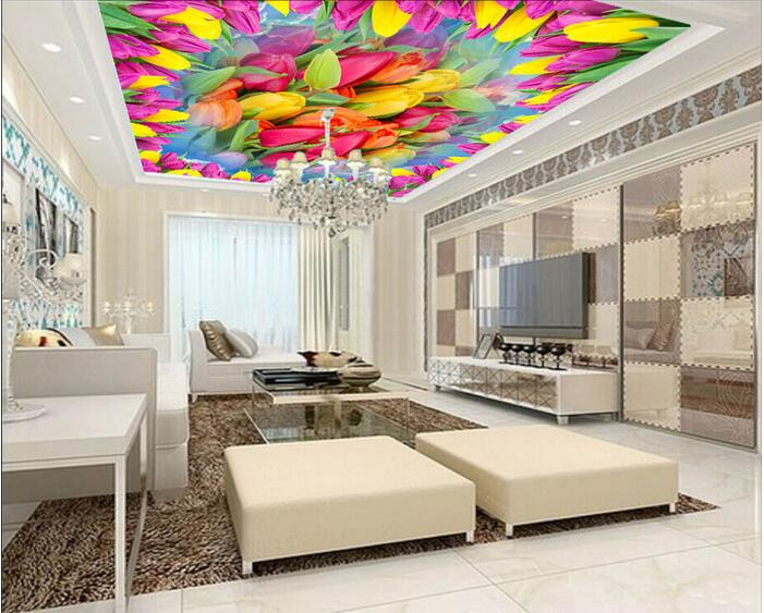 3d room wallpaper custom mural non-woven wall sticker Dream tulip flowers ceiling mural paintings photo wallpaper for walls 3d mural wallpaper 3d home decoration cherry trees 3d wallpaper living room ceiling non woven wallpaper ceiling