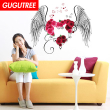 Decorate wings rose flower art wall sticker decoration Decals mural painting Removable Decor Wallpaper LF-1853