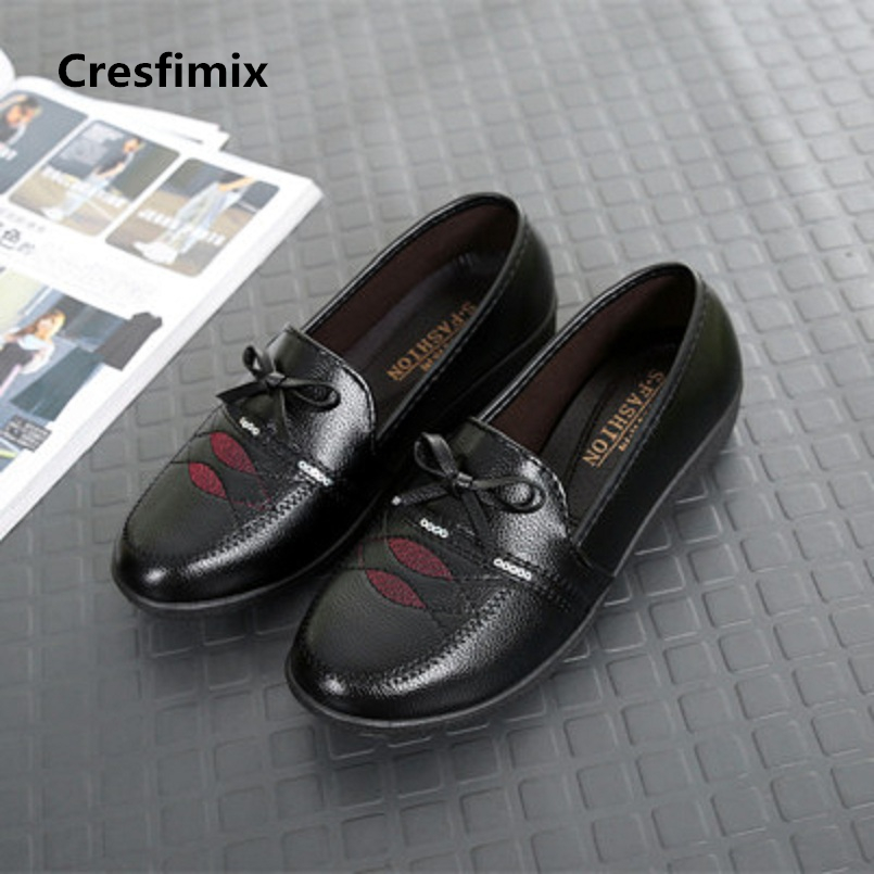 Cresfimix women fashion soft pu leather slip on flat shoes lady cute comfortable black flats female cool shoes zapatos a416 cresfimix women casual pu leather slip on flat shoes lady casual white flats female soft and comfortable loafers zapatos