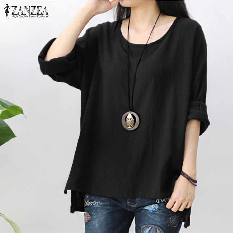 ZANZEA/Женская винтажная однотонная блузка с длинными рукавами, Осенние повседневные свободные топы, вечерние мешковатые блузы, халат Femme, Офисная хлопковая льняная рубашка