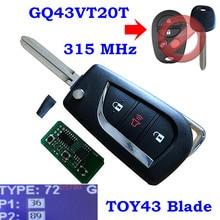 3 кнопочный Выкидной ключ стиль/GQ43VT20T(4D67/G/H чип) для Toyota Highlander Sequoia Sienna TacomaTundra 315 МГц/433 МГц