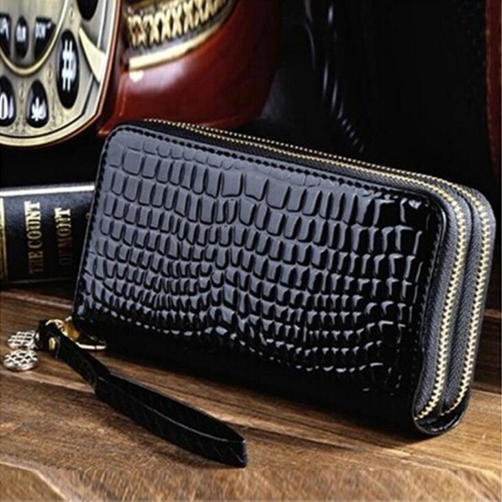 Ms female bag luxury brand double zipper super capacity long patent leather wallet change mobile phone