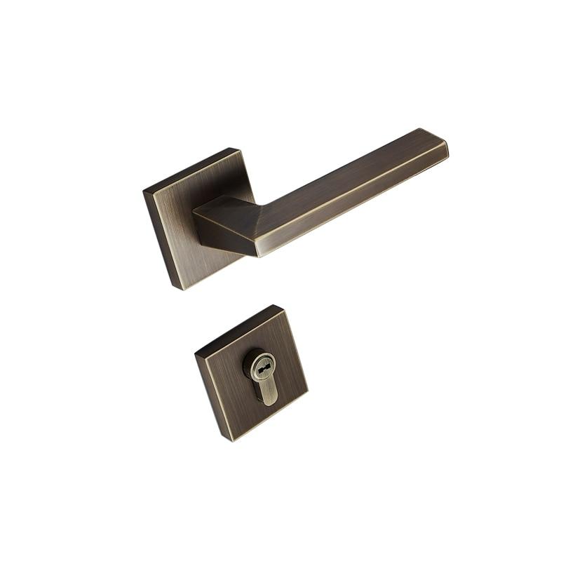 1 ensemble de serrure de porte carrée en laiton style modernisé porte intérieure chambre serrure de porte pour 35-50mm porte avec clé serrure accessoires