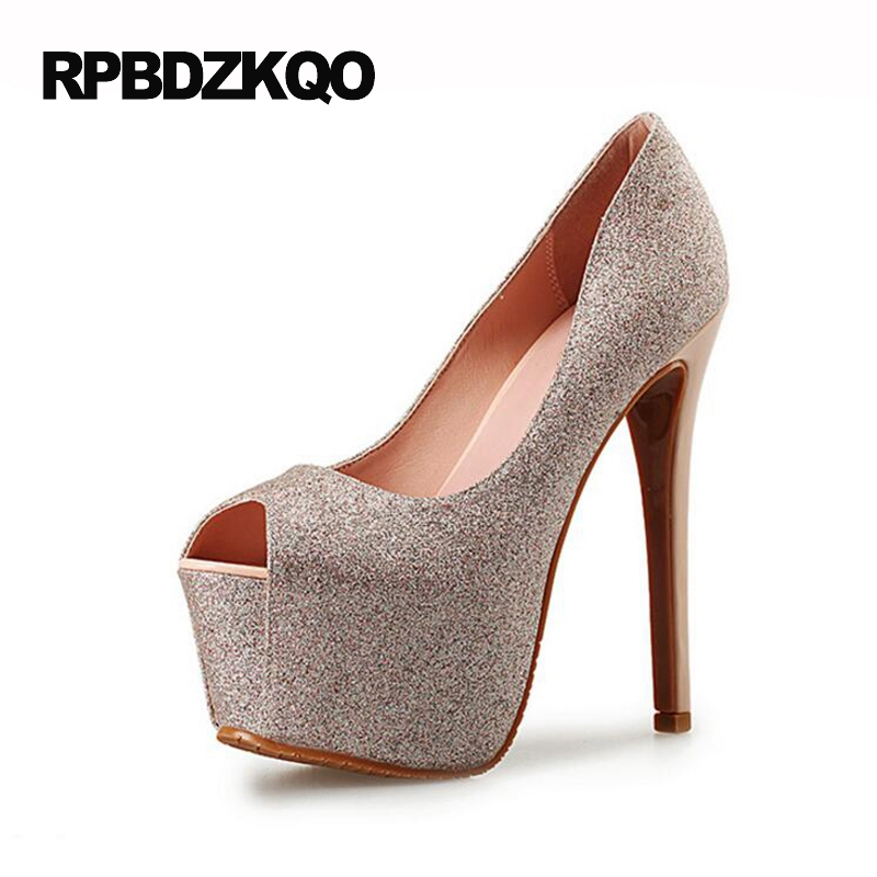 Peep Toe Pumps Platform Size 33 Stiletto Extreme Bling Fetish Glitter High Heels 15cm Ultra Open Shoes Rose Gold Runway Women