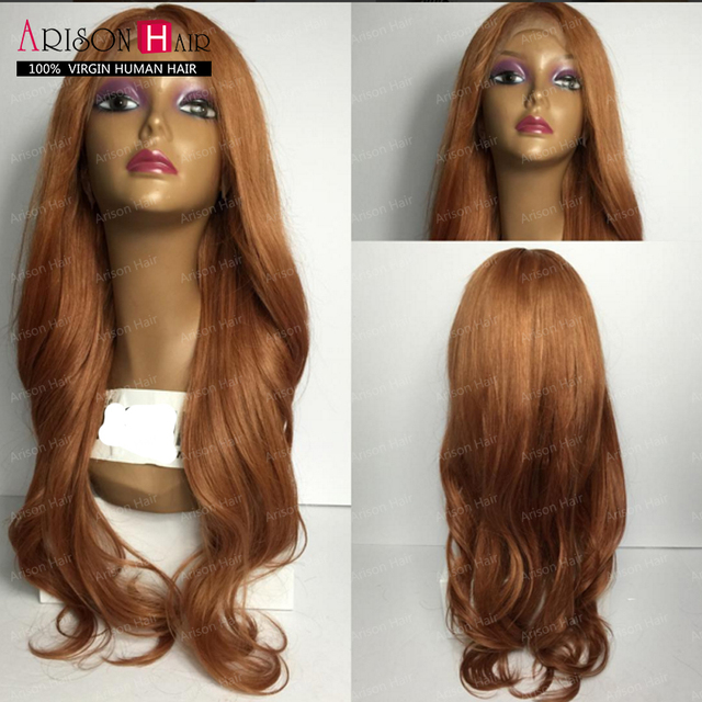 470e06365 Honey blonde ombre full lace wigs human hair wavy lace front wig malaysian  virgin human hair u part wig for black women sale