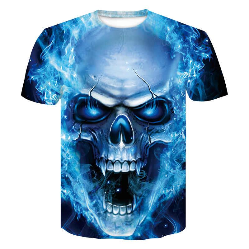 2018 Новый Череп 3D печать футболка Мужская Фитнес Компрессионные рубашки топы мужская футболка Летняя классная Высокая уличная одежда