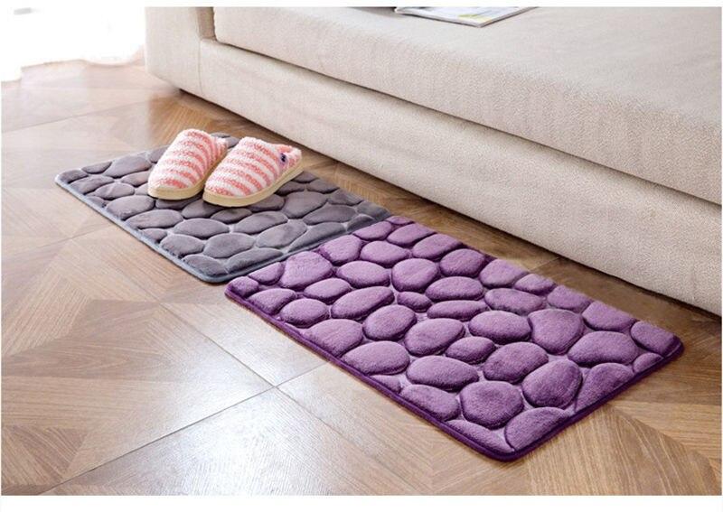 Pebble Pattern Carpet Bathroom Memory Foam Rug Kit Non-slip Mats Floor Carpet Set Mattress Kitchen Bathroom Mats