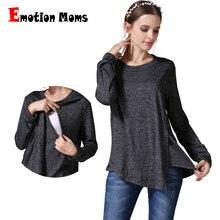 Emotion Moms/осенне-зимняя одежда для беременных с длинным рукавом для будущих мам, футболка для грудного вскармливания, Одежда для беременных женщин, топы для кормящих мам