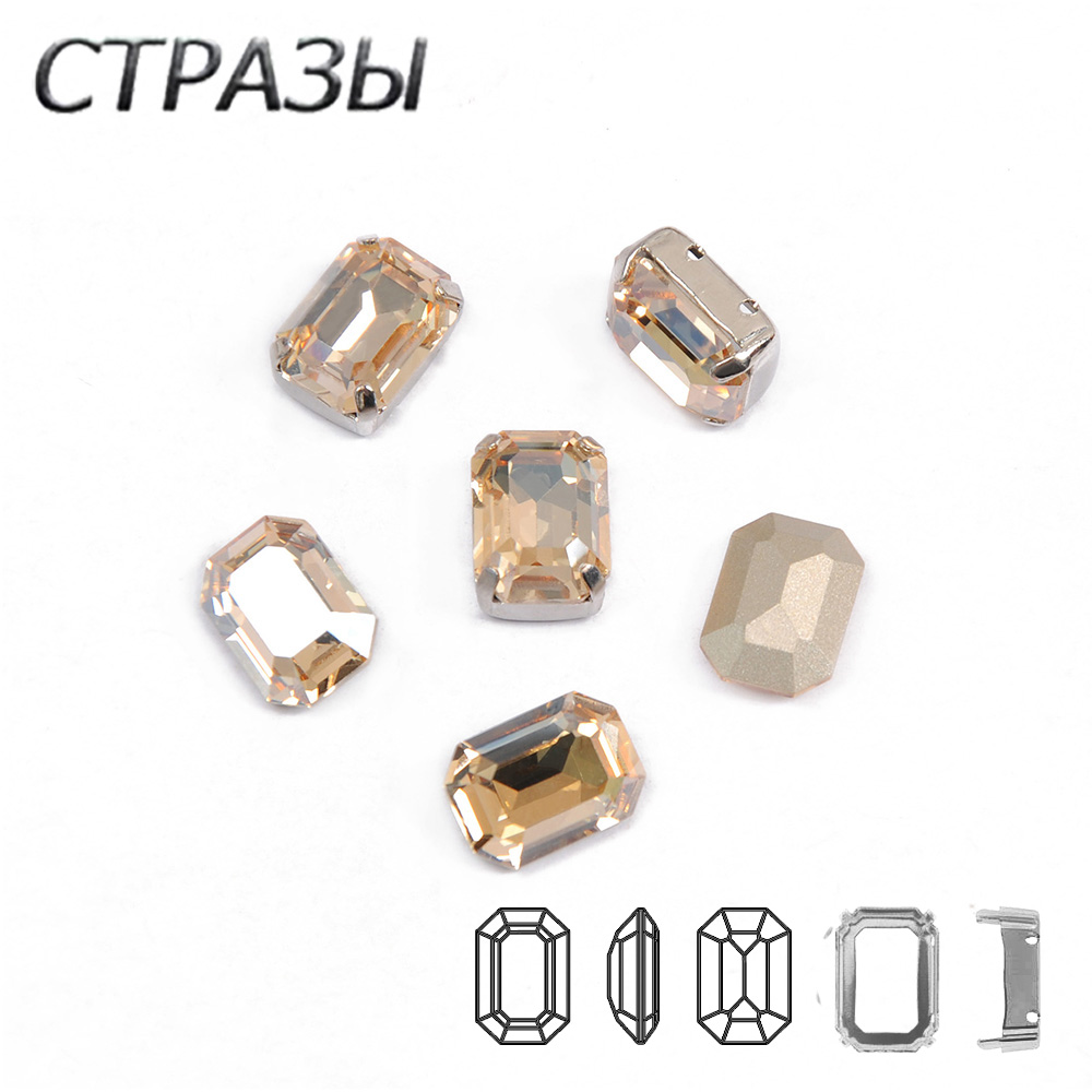 001GSHA Octangle Golden Shadow pointed foiled back sew on Big Glass fancy stone faceted crystal rhinestone jewels Gem in Rhinestones from Home Garden