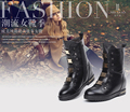 British fashion plus velvet inside the high Martin boots in high boots to help Liu nail true leather leisure women boots