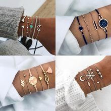 2019 New Women Bracelet Set Bohemian Geometric Multi-layer Sliver & Gold Chram Bracelet For Women Party Jewelry Gift(China)