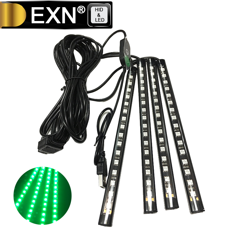 Car USB Interior Lights Dash Floor Decor Decorations Auto 12V Atmosphere Lamp 16 LED DC 12V