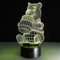 Winnie the Pooh Modeli El Sanatları Lamba 7 Renk Değiştirme Illusion Görsel Gece Işık Festivali Fener Parti Favor Noel Dekorasyon