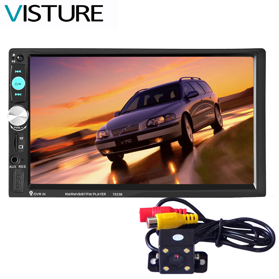 Auto Car Double Din Car DVD Player 7 Inch Touch Screen Media Radio Bluetooth MP5 Player Rear View Camera 7023B 7 inch universal 2 din car dvd player in dash player auto mp5 mp4 bluetooth fm radio multimedia rear view camera interface