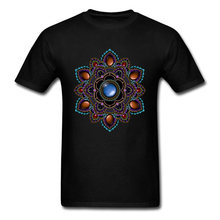 Om T-shirt Men Black Tshirt Purple & Teal Mandala With Gemstones Geometric Designer T Shirts Father Day Gift Sweatshirts Cool(China)