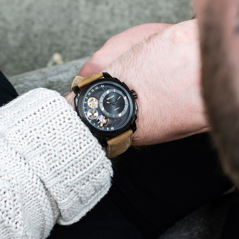 MEGIR Creative Fashion Analog Quartz Wrist Watch Men Leather Waterproof Casual Military Sports Watches Clock Relogio Masculino цена в Москве и Питере