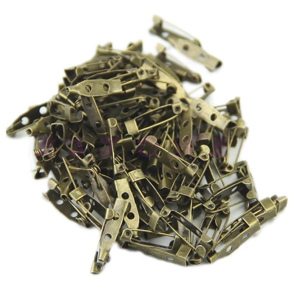 100Pcs Brooch Back Safety Catch Bar Pins 20mm