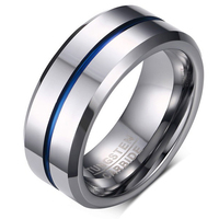 2017 NEW Fashion Thin Blue Line Pure Tungsten Ring Wedding 8MM Tungsten Carbide Rings For Men