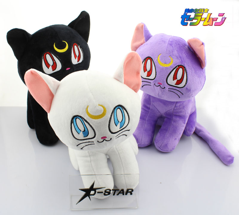 "Free Shipping 12pcs Cute 7"" Anime Sailor Moon the Cat Luna Artemis 18cm White/Black/Purple Stuffed Toy Kids Plush Doll Soft Toys"