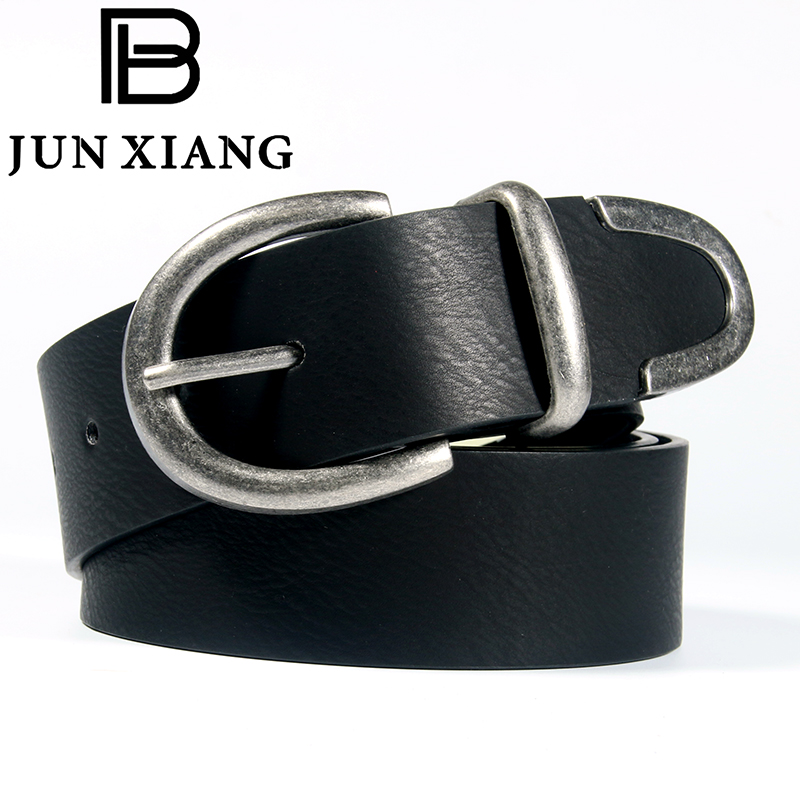 High Quality Fashion Mens Belt Metal Alloy Pin Buckle PU Leather Solid Black 5 Hole Pants Jeans Boy Gift