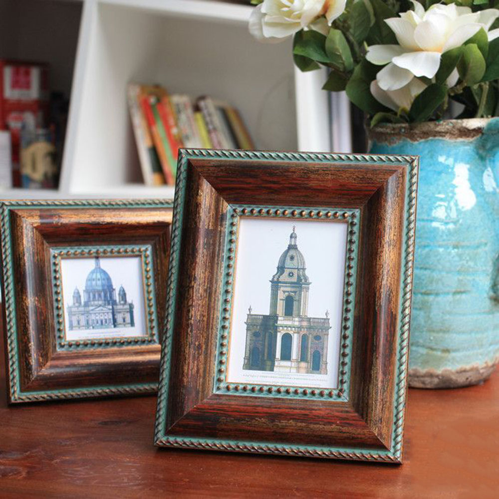 picture frame retro solid wood picture frame holder picture act decor vintage table and wall photo frame home accessory