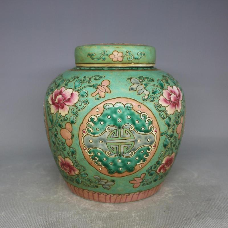 6 Antique Old Chinese Qingdynasty Porcelain Jar Green Pot Tanks Home Decoration Handmade