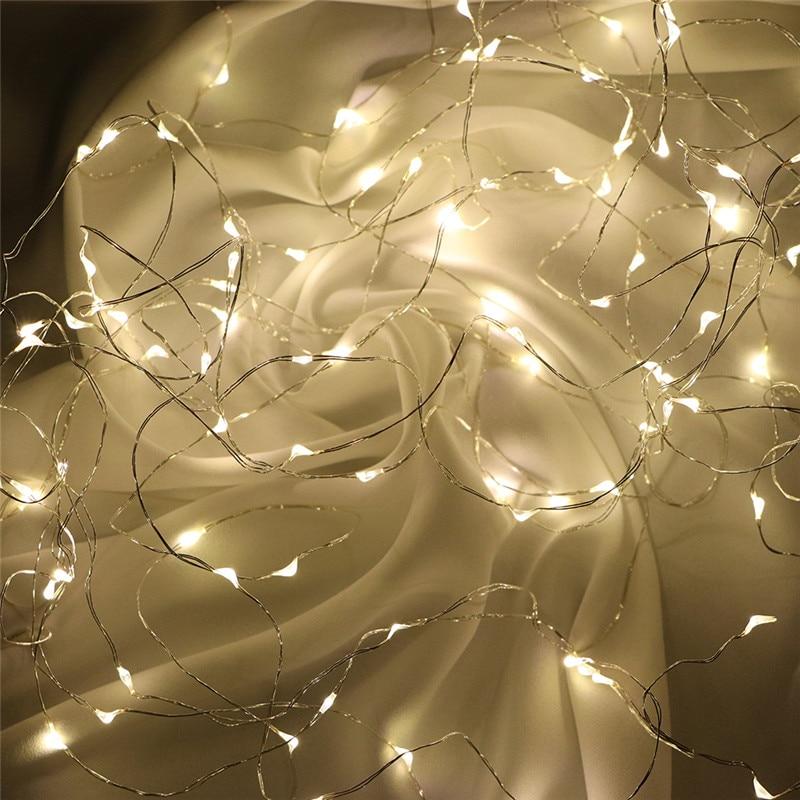 Luzes De Fadas Bateria AA Alimentado 1M 10 2M 20 3M 30 5M 50 10M 100Leds Prata Led Fio De Cobre Luz Cordas Luzes Decorativas De Fadas