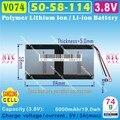 [V074] 3.8V,3.7V,5000mAH,[5058114] Polymer lithium ion / Li-ion battery for tablet pc,cell phone,POWER BANK,CUBE,ONDA,PIPO