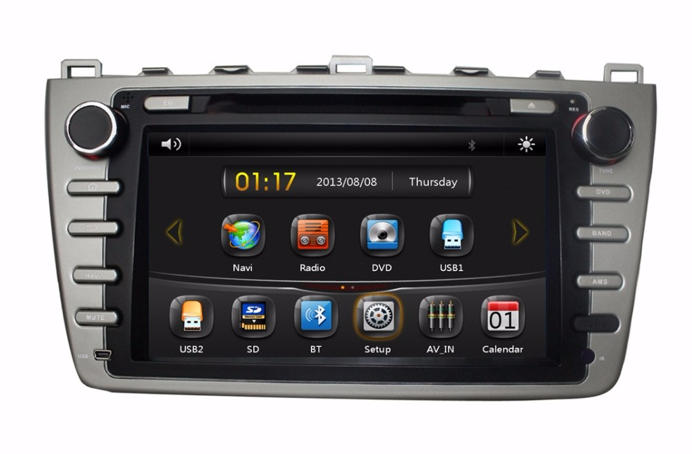 HD 2 din 8″ Car Radio DVD GPS Navigation for Mazda 6 /Ruiyi /Ultra 2008-2012 With Bluetooth IPOD TV SWC USB Support bose system