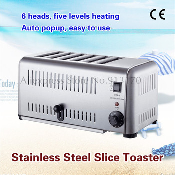 Commercial Compact Bread Toaster Stainless Steel Six Slice