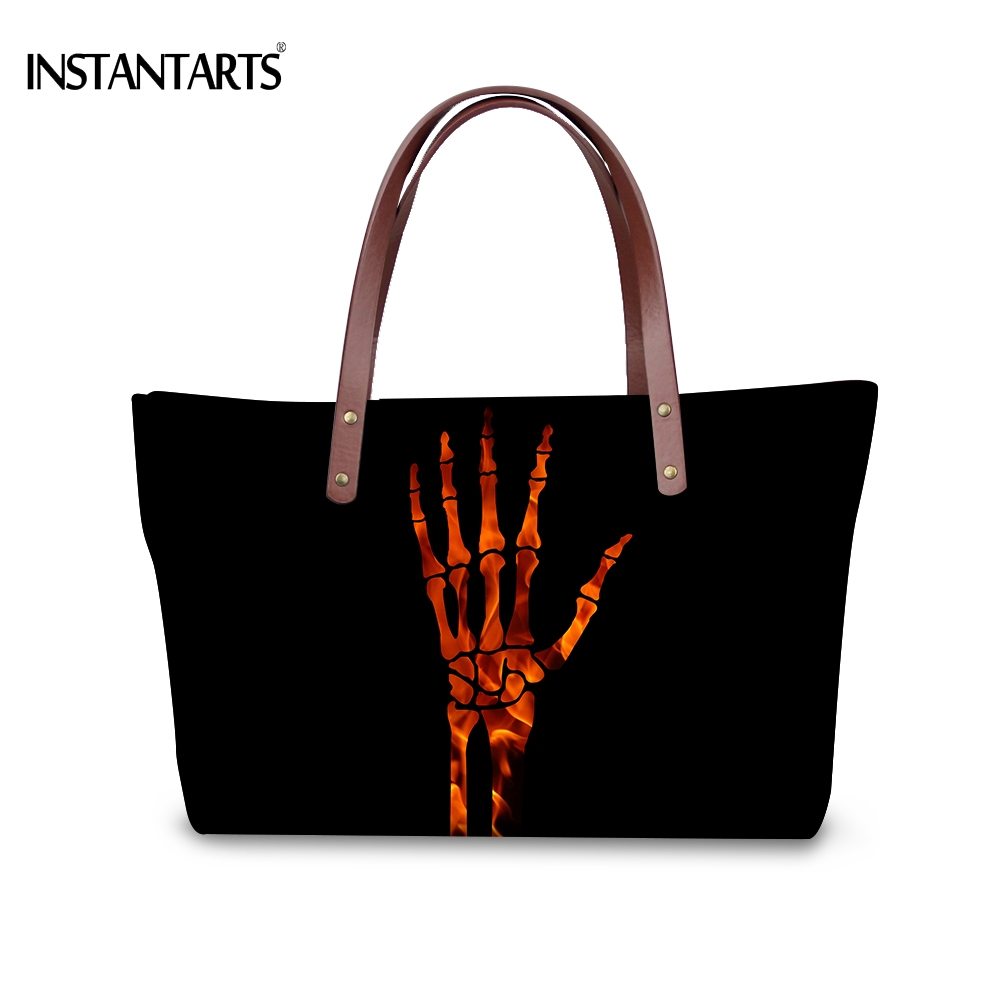 INSTANTARTS Vintage Black Skull Hand Print Women Large Shopping Tote Bags Halloween Gift Handbags Brand Travel Top Handle Bag