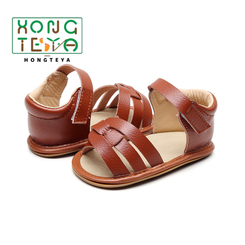 Newborn Baby Summer Sandals Leather Material Baby Boys And Girls Shoes Non-Slip Bottom Hard Sole Shoes For 0-24 Month