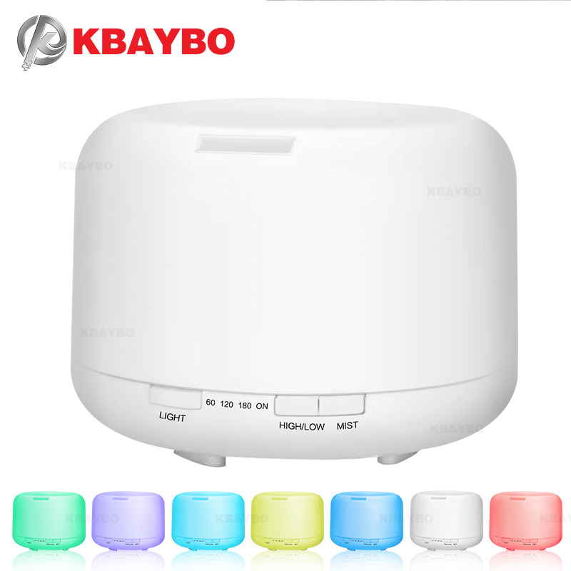 500ML Aromatherapy Essential Oil Diffuser Ultrasonic Air Humidifier with 4 Timer Settings 7 LED Color Changing Lamps, 10 Hours 500ml remote control aroma essential oil diffuser ultrasonic air humidifier with 4 timer settings 7 color changing led lamp k198