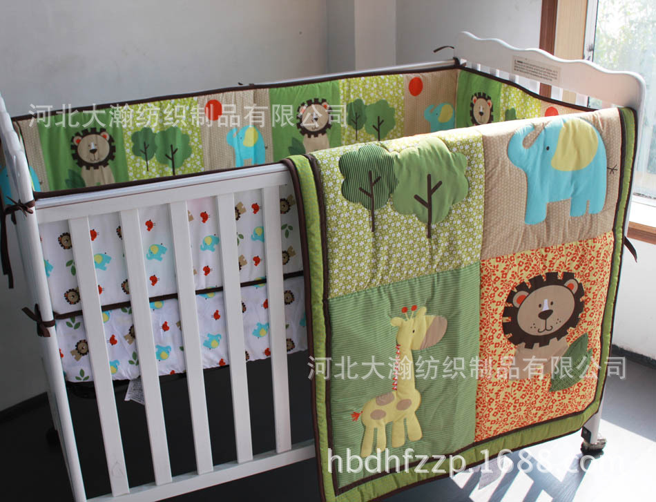 Promotion! 6pcs Embroidery 100% cotton Embroidery baby bedding set bed sheet crib bedding set ,include (bumpers+duvet+bed cover) promotion 6pcs embroidery 100
