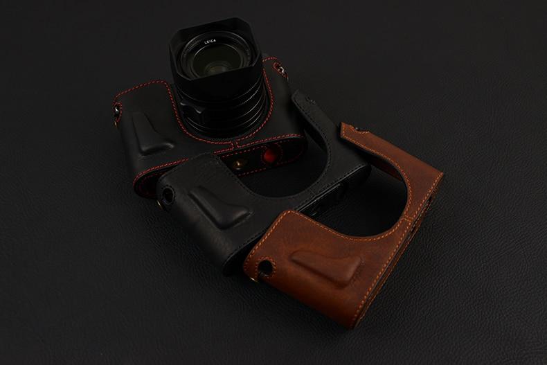 [VR] Handmade Genuine Leather Camera case Half Body For Leica Q TYP 116 Camera Bag Bottom Cover Handle Vintage Case [vr] brand handmade genuine leather camera case for sony a7ii a7 mark 2 a7r2 a7r ii camera bag half cover handle vintage case