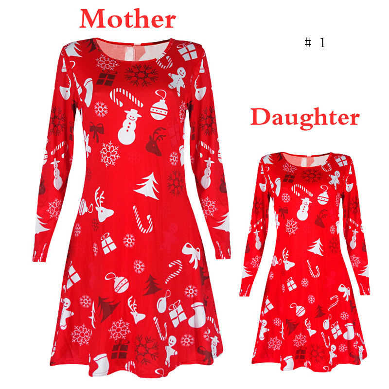 Christmas Mother Daughter Dress New Year's Costumes For Mom Daughter 2017 Santa Long Sleeve Xmas Vestido Family Matching Outfits