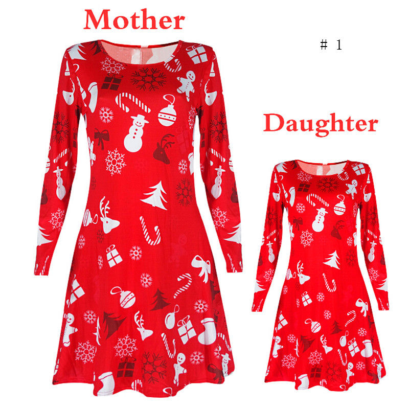 Christmas Mother Daughter Dress New Year's Costumes For Mom Daughter 2017 Santa Long Sleeve Xmas Vestido Family Matching Outfits stylish scoop neck long sleeve chevron stripe slimming women s t shirt