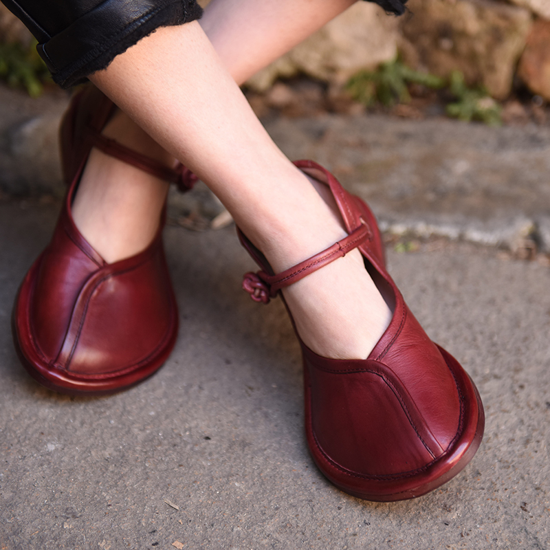 Artmu Retro Chinese Woman Shoes Mary Jane Red Flat Handmade Leather Shoes Cowhide Genuine Leather Shoes Woman Roma обувь для дома artmu a15acyn88co1