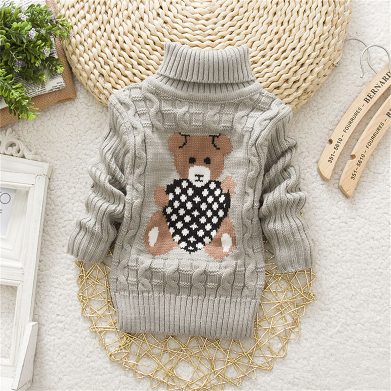 BibiCola new baby girls boys autumn/winter wear warm cartoon sweaters children pullovers outerwear babi turtleneck sweater