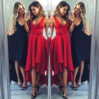 Cheapest Simple Design Prom Dresses 2017 A Line V Neck High Low Party Occasion Homecoming Gowns