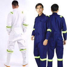 One piece Long Sleeve Safety Coveralls 100% Cotton Reflective Work Clothes Anti Static Clothes For Auto Repair Grid Coal Miner