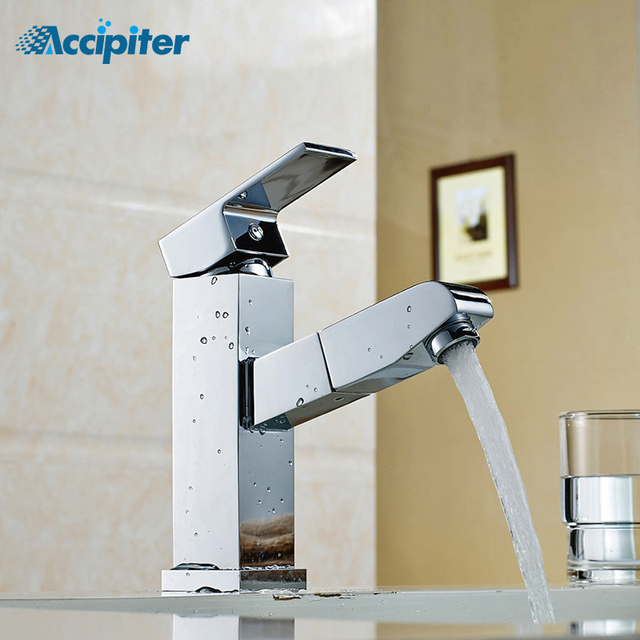 Pull Out Faucet Design For Washing Hair And Face Polished Chrome Bathroom Basin Sink Mixer