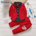 2017 nuevo caballero del bebé muchachos que arropan el sistema Niños otoño primavera tie coat + pants fake tres piezas de vestuario para niños bunchems