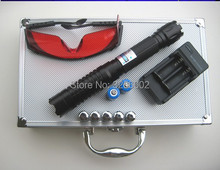 Discount! 200000mw 5in1 Strong Military Blue Laser Pointer Flashlight Burn match Candle lit Cigarette Wicked Lazer Torch 200Watt+Glasses