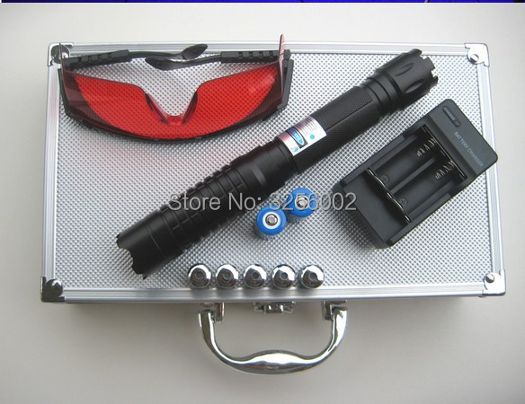 AAA 200000m 5in1 Strong Military Blue Laser Pointer Flashlight Burn match Candle lit Cigarette Wicked Lazer Torch 20Watt Glasses in Lasers from Sports Entertainment